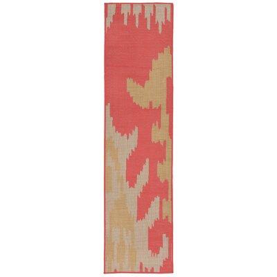 Finklea Ikat Rust/Beige Indoor/Outdoor Area Rug Rug Size: Runner 2 x 75