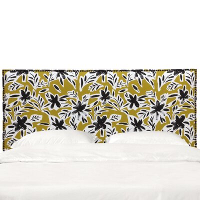 Grissett Nail Button Border Upholstered Panel Headboard Size: Queen