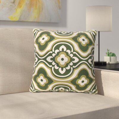 Murrin Blossom Cotton Throw Pillow Color: Olive/ White