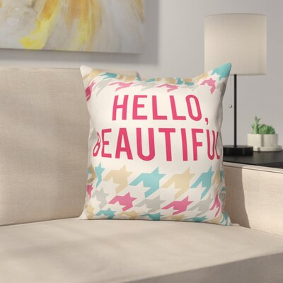 Orcutt Hello Beautiful Houndstooth Throw Pillow