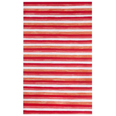 Hugo Painted Stripes Hand-Woven Red Indoor/Outdoor Area Rug Rug Size: Rectangle 4 x 6