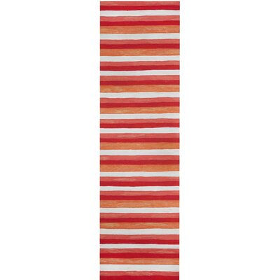Hugo Painted Stripes Hand-Woven Red Indoor/Outdoor Area Rug Rug Size: Runner 23 x 8