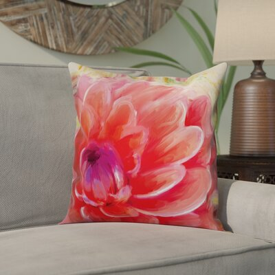 Ortiz Peach Water Lily Throw Pillow Color: Pink