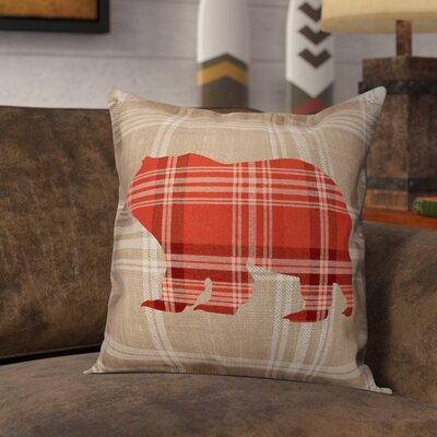 Lowman Plaid Bear Throw Pillow