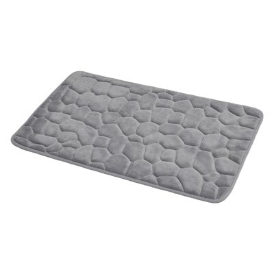 3D Cobble Stone Shaped Memory Foam Bath Rug Color: Light Gray