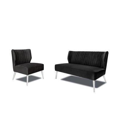 Hale 2 Piece Living Room Set Upholstery : Black