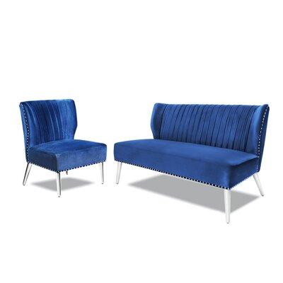 Hale 2 Piece Living Room Set Upholstery : Blue