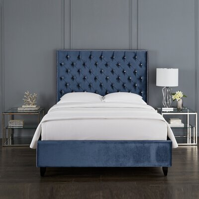 Newberry Crystal Upholstered Platform Bed Color: Blue, Size: Queen