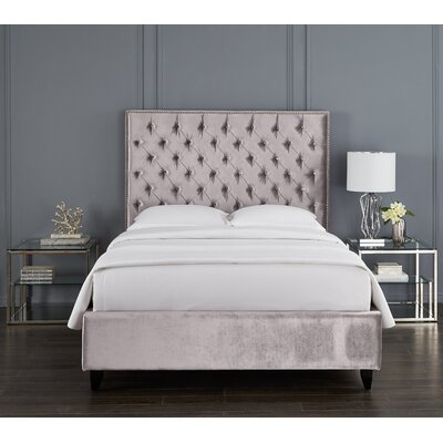 Newberry Crystal Upholstered Platform Bed Color: Gray, Size: Queen