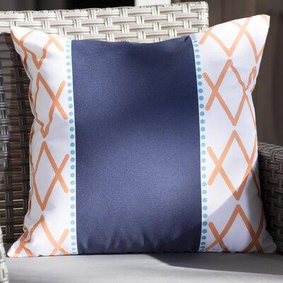 Adne Knot Fancy Outdoor Throw Pillow Size: 18 H x 18 W x 3 D, Color: Orange/Navy Blue