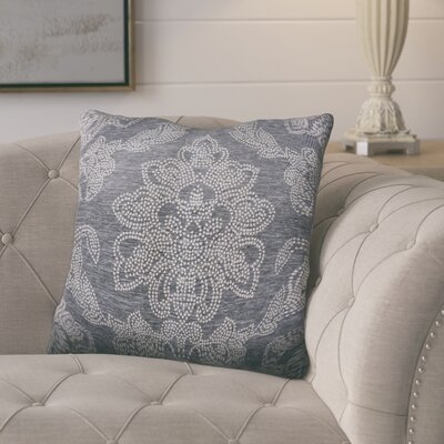 Kirksey Floral Jacquard Throw Pillow Color: Charcoal