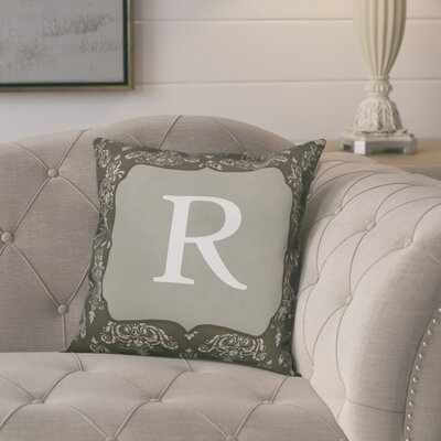 Krahn Damask�Monogram Throw Pillow Letter: R