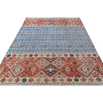 One-of-a-Kind Palmore Hand-Knotted Wool Gray/Blue Area Rug