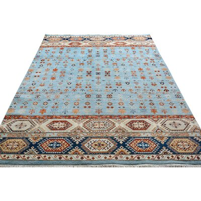 One-of-a-Kind Palmore Hand-Knotted Wool Light Blue/Ivory Area Rug