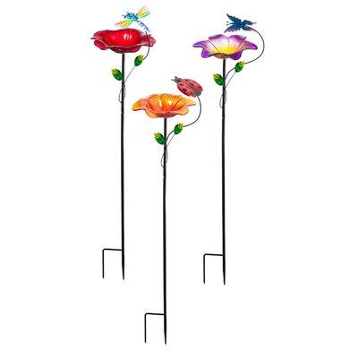 3 Piece Garden Friends on Stake Decorative Bird Feeder 2BF855