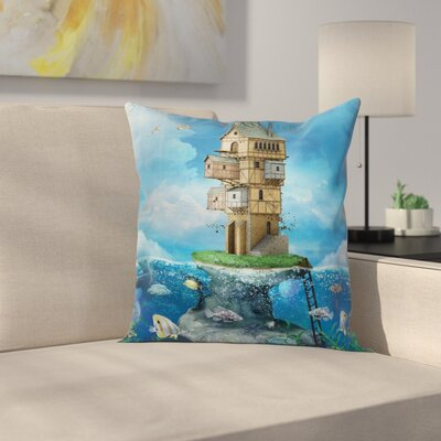 Cartoon Fantasy Fisherman House Square Pillow Cover Size: 18 x 18
