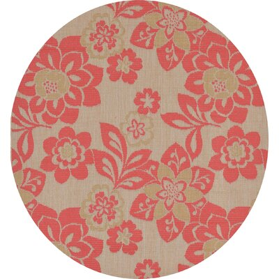Fawkes Garden Sunset Rust Indoor/Outdoor Area Rug Rug Size: Round 75