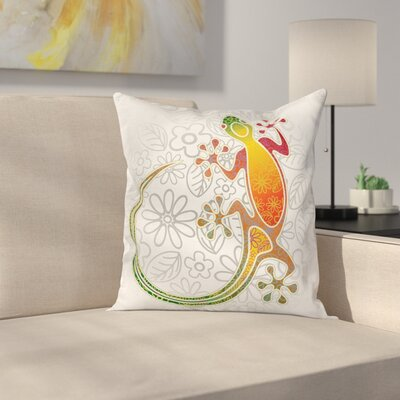 Fabric Tribal Art Frog Flowers Square Pillow Cover Size: 20 x 20