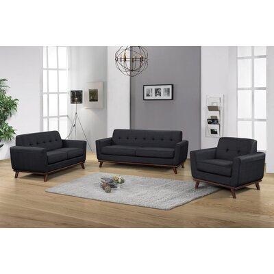 Cerda 3 Piece Living Room Set Color: Charcoal