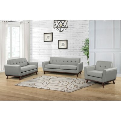 Cerda 3 Piece Living Room Set Color: Dove Gray