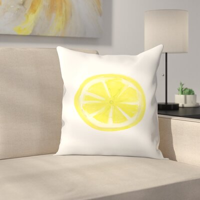 Jetty Printables Watercolor Lemon Slice Throw Pillow Size: 14 x 14