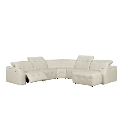 Loar Leather Reclining Sectional Orientation: Left
