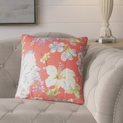 Barney Floral Throw Pillow Color: Flamingo