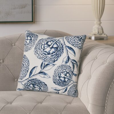 Jud Blooms Antique Flower Throw Pillow Size: 18 H x 18 W, Color: Navy Blue