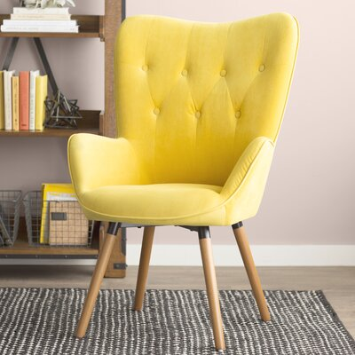 Bamard Tufted Button Back Armchair Upholstery: Yellow