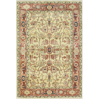 Plemons One-of-a-Kind Indo Mahal Hand-Woven Ivory/Rust Area Rug