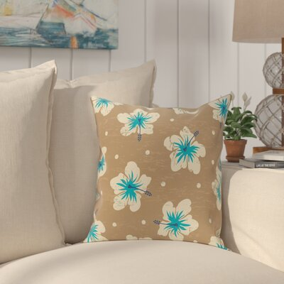 Pembrook Hibiscus Blooms Floral Throw Pillow Size: 18 H x 18 W, Color: Beige/Taupe