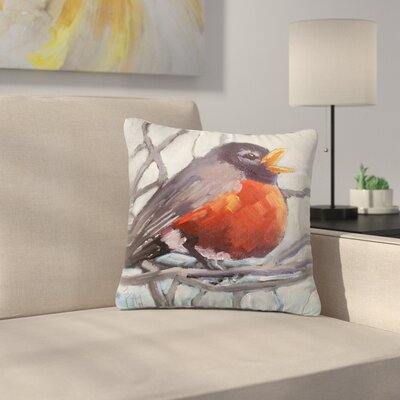 Carol Schiff Winter Robin Outdoor Throw Pillow Size: 16 H x 16 W x 5 D