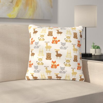 Petit Griffin Retro Animals Outdoor Throw Pillow Size: 16 H x 16 W x 5 D