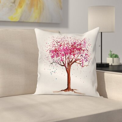 Blossom Buds Sakura Tree Cushion Pillow Cover Size: 18 x 18