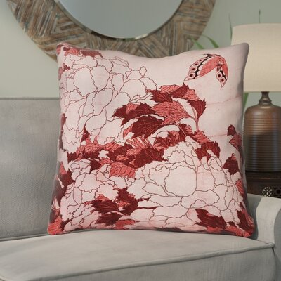 Clair Peonies and Butterfly Square Throw Pillow Size: 36 H x 36 W, Color: Red