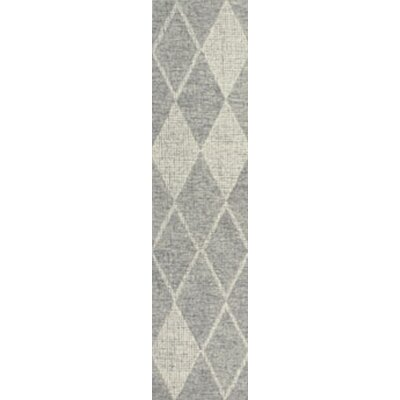 Finkelstein Diamond Hand-Woven Wool Gray Area Rug Rug Size: Runner 2 X 75