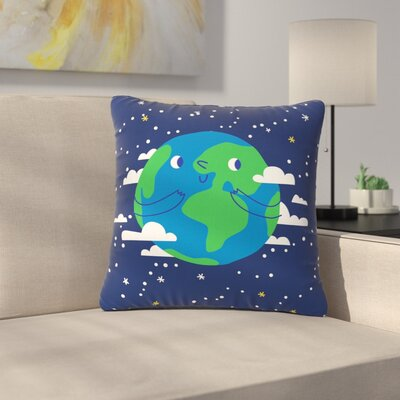 Happy Earth Outdoor Throw Pillow Size: 16 H x 16 W x 5 D