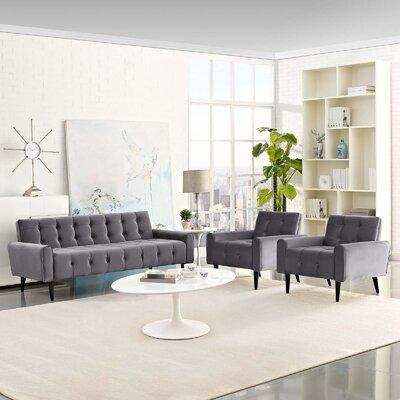Mathieson 3 Piece Living Room Set Color: Gray