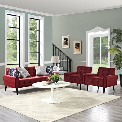 Mathieson 3 Piece Living Room Set Color: Maroon