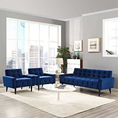 Mathieson 3 Piece Living Room Set Color: Navy
