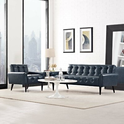 Mathieson 2 Piece Living Room Set Color: Blue