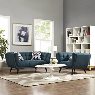 Vonda 2 Piece Living Room Set Color: Blue