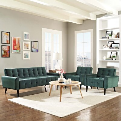 Mathieson 3 Piece Living Room Set Color: Green