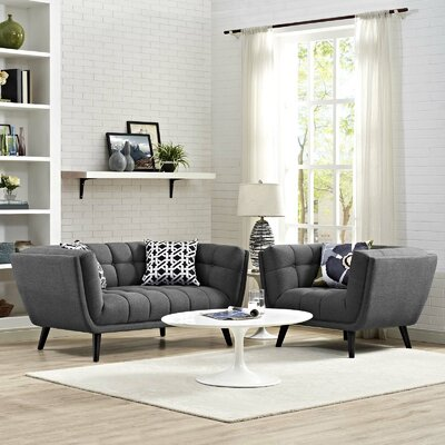 Vonda 2 Piece Living Room Set Color: Dark Gray