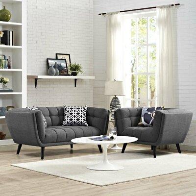 Vonda 2 Piece Living Room Set Color: Dark Gray