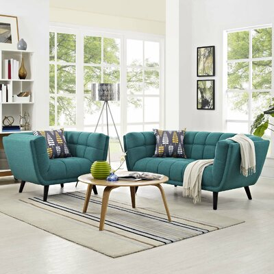 Vonda 2 Piece Living Room Set Color: Teal