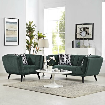 Vonda 2 Piece Living Room Set Color: Green
