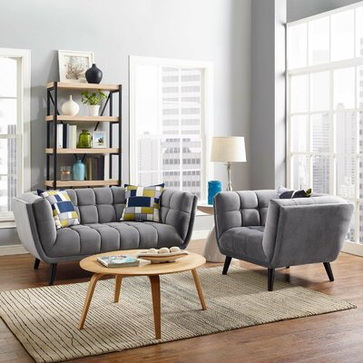 Vonda 2 Piece Living Room Set Color: Light Gray