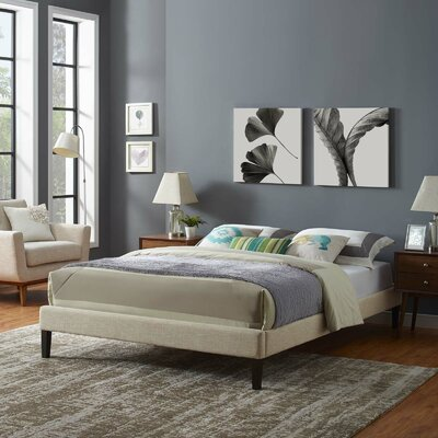 Dignan Upholstered Platform Bed Color: Beige, Size: King