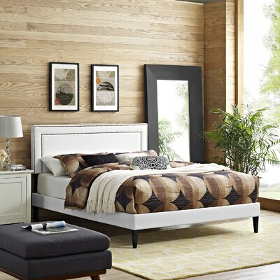 Huntsman Upholstered Platform Bed Color: White, Size: Queen